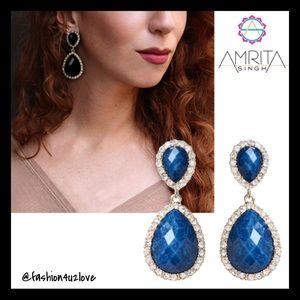 Amrita Singh Austrian Crystals Blue Lapis Earrings